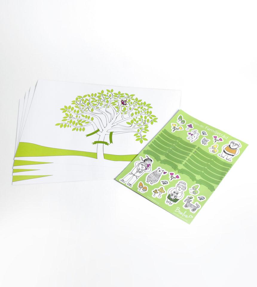 Familjeträd, släktträd med klisteretiketter att skriva namn på