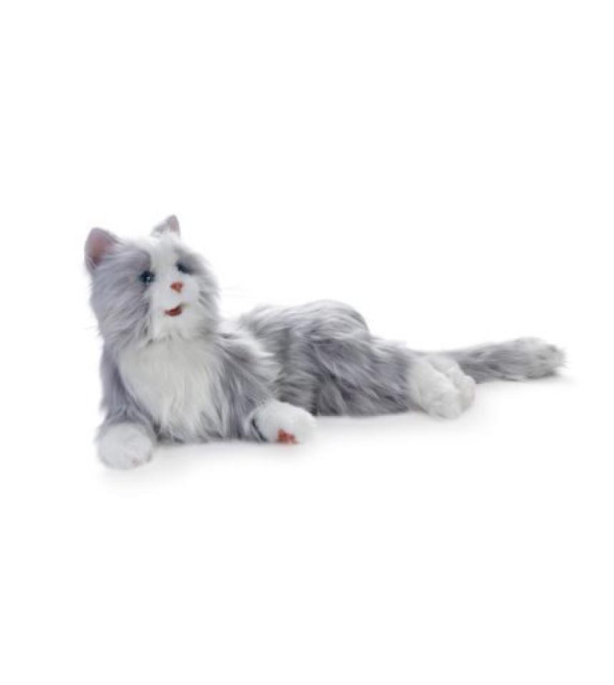 terapikatt silvergra robot katt Mentex