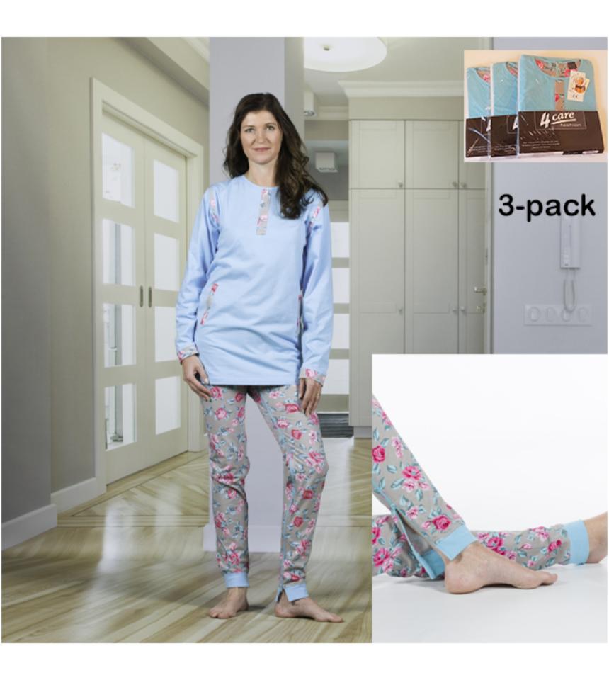 3-pack damoverall pyjamas med dragkedja i ben rygg förhindra plock med inkontinensskydd