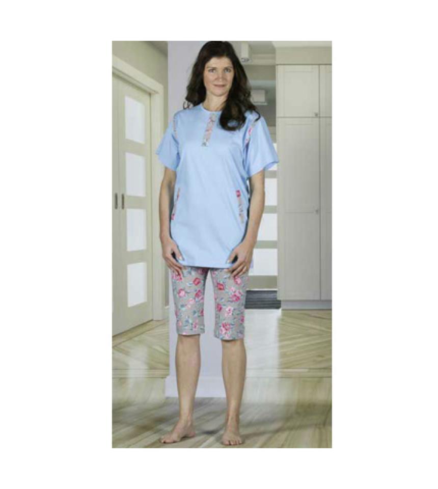 amoverall pyjamas med korta ben dragkedja i rygg