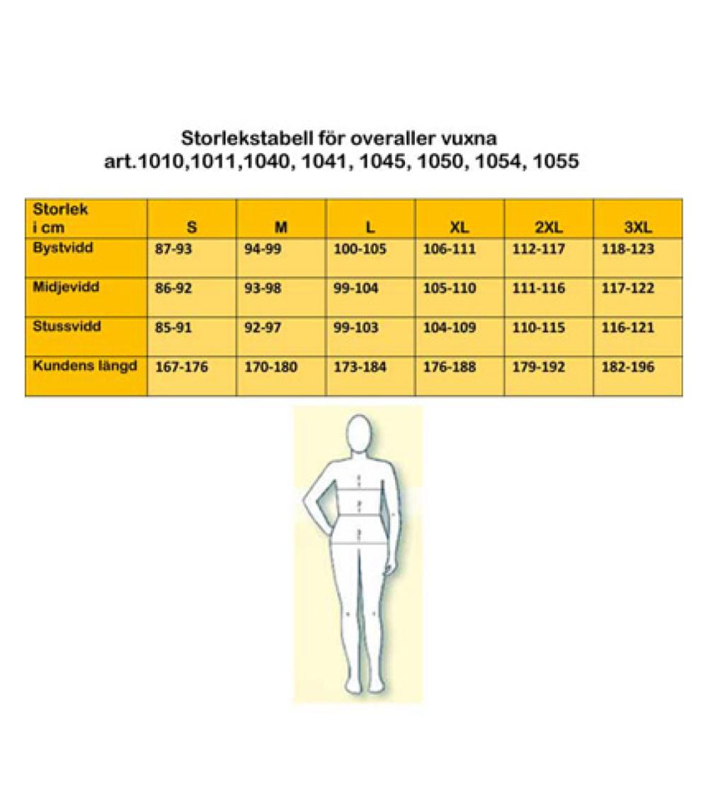 overall storlekstabell