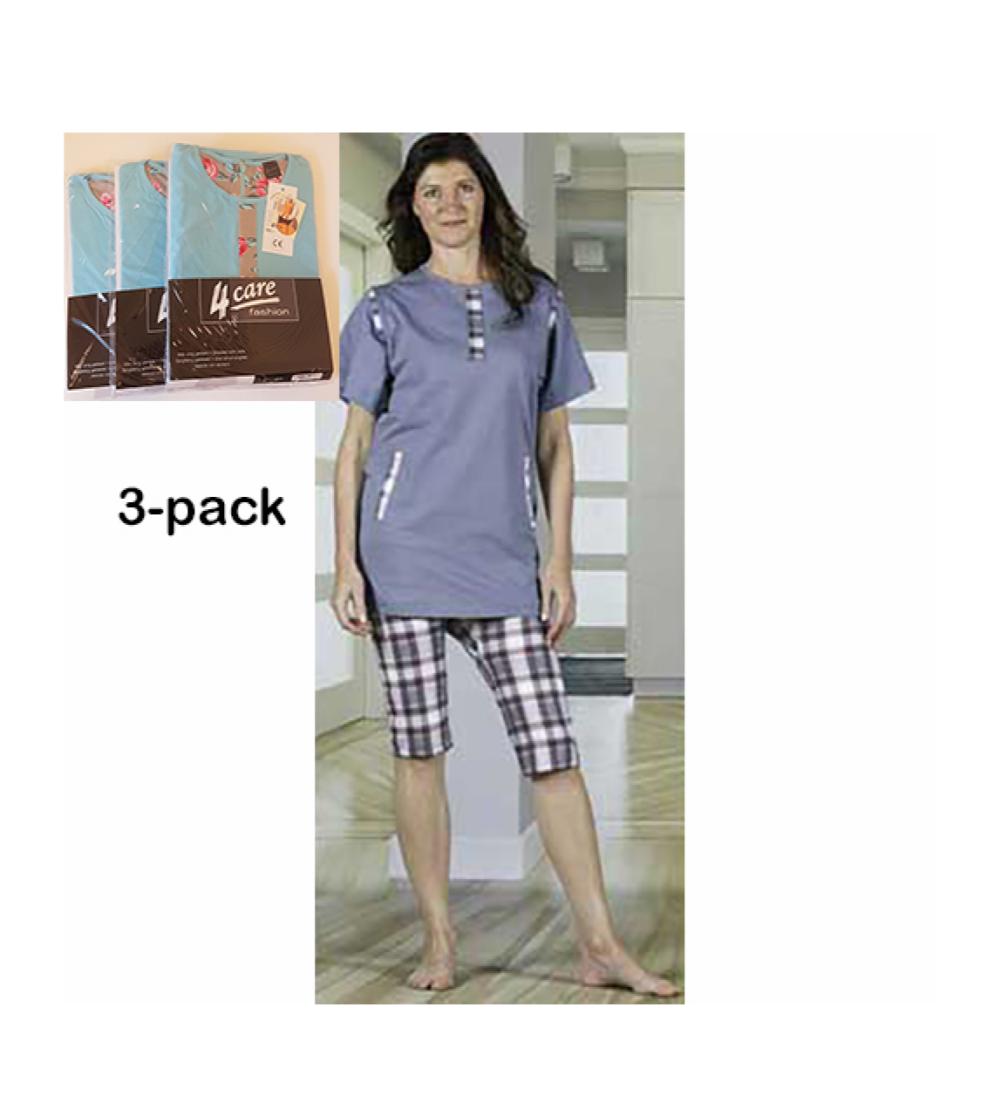 damoverall pyjamas med korta ben dragkedja i rygg 3-pack